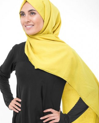 Cellery - Senf Bomull Voile Hijab
