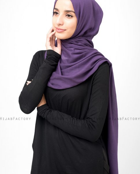 Sweet Grape Plommon Bomull Voile Hijab 5TA14